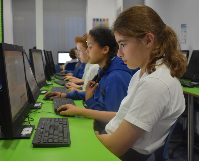 Computer lesson at Holy Trinity School